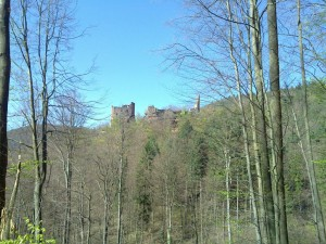The Wasigenstein castles as seen from the opposite sited hill