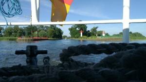 Leaving Ueckermünde by boat