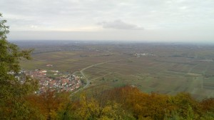 View from the Madenburg castle towards the upper Rhine plane