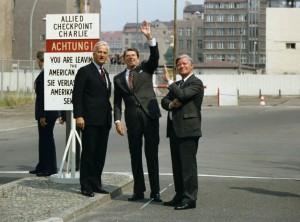 Weizsäcker, Reagan and Schmidt at Checkpoint Charlie (Berlin), 1982(public domain, via wikipedia)